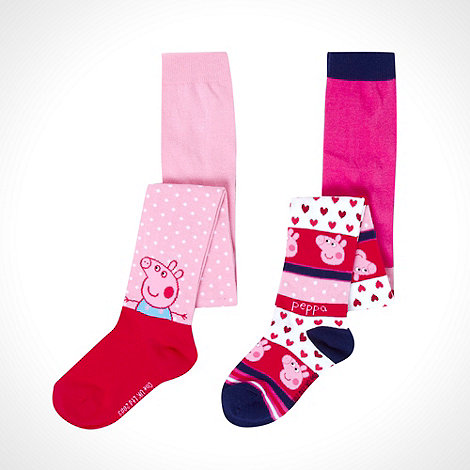 Peppa Pig - Girl+s pack of two pink +Peppa Pig+ tights