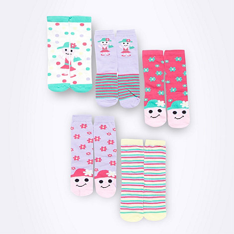 bluezoo - Girl+s pack of five pink novelty socks