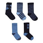 Pack of five boys' blue patterned socks