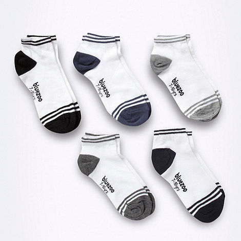 bluezoo - Pack of five boys+ white tip striped socks