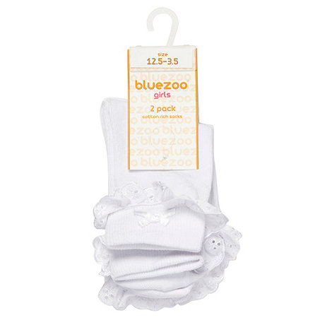 bluezoo - Girl's pack of two white broderie socks