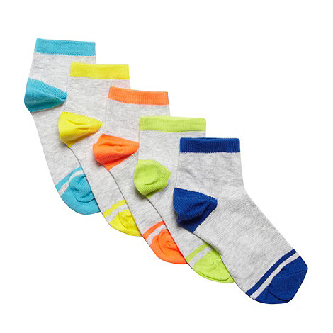 bluezoo - Children+s pack of five light grey neon trim ankle socks