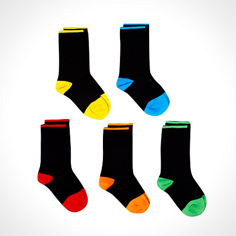 bluezoo - Boy+s pack of five black neon socks