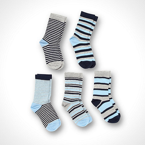 bluezoo - Blue boy+s 5 pack stripe socks