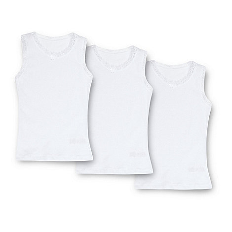 bluezoo - Girl+s pack of three white lace trimmed vests