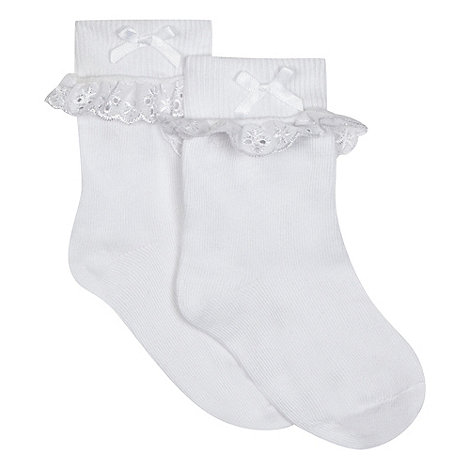 bluezoo - Girl+s pack of two white broderie socks