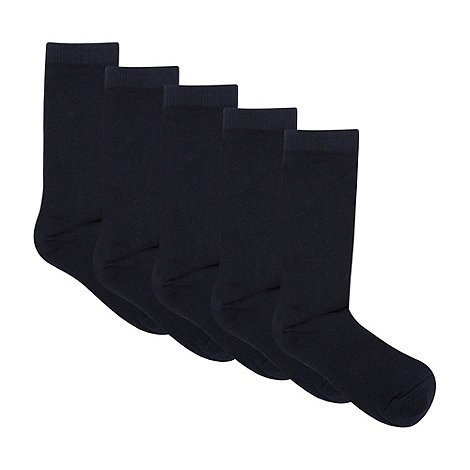 bluezoo - Children+s pack of five navy socks