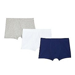 bluezoo - Boy's pack of three navy blue and white trunks