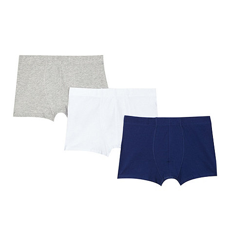 bluezoo - Boy+s pack of three navy blue and white trunks