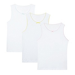 bluezoo - Girl's pack of three white picot trim vests