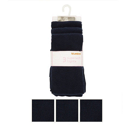 bluezoo - Girl+s pack of three navy supersoft tights