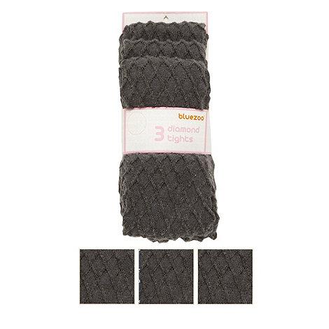 bluezoo - Girl+s pack of three dark grey diamond knit tights