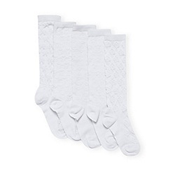 bluezoo - Girl's pack of five white textured socks