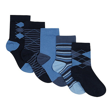 bluezoo - Boy+s pack of five navy argyle and striped socks