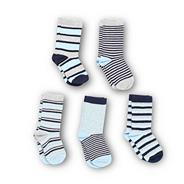 Boy's pack of five blue multi striped socks