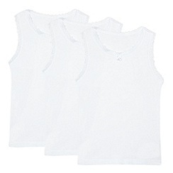 Debenhams - Girl's pack of three white lace trimmed vests