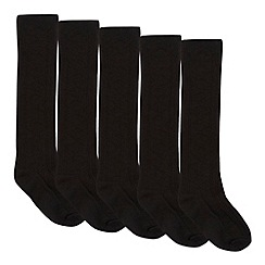 bluezoo - Girl's five pack black knee high socks