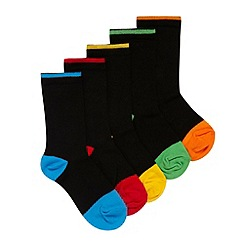bluezoo - Boy's pack of five black cotton rich socks