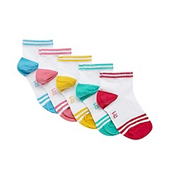 bluezoo - Pack of five girl's white tipped trainer socks