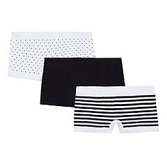 Debenhams - Pack of three girl's white striped shorts