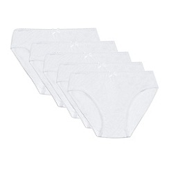 Debenhams - Pack of five girls' white briefs