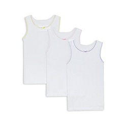 Debenhams - Pack of three girls' white vests