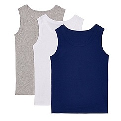 Debenhams - Pack of three boys' blue cotton rich vests