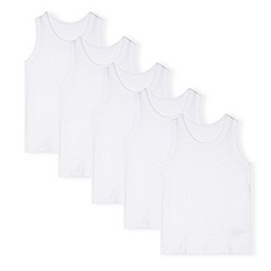 bluezoo - Pack of five boy's white cotton vests