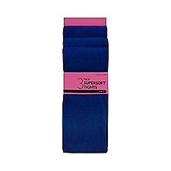Debenhams - Pack of three girls' royal blue tights