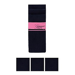 Debenhams - Pack of three girls' navy super soft tights
