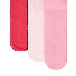 Debenhams - Pack of three girls' pink tights