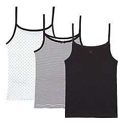 bluezoo - Pack of three girls' black and white cami vests
