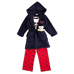 bluezoo - Boy's navy 'Mummy's little soldier' three-piece pyjama set