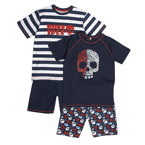 bluezoo - Boy+s pack of two navy +Bone Idle+ pyjamas
