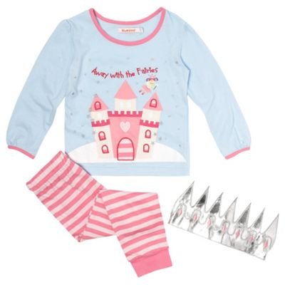 Girls Blue And Pink Fairy Slogan Pyjamas
