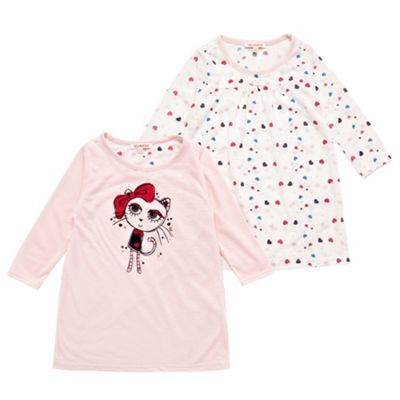 Girls Pack Of Two Printed Jersey Nightdresses