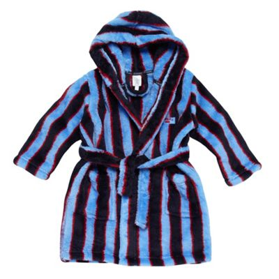Boys Blue Striped Fleece Dressing Gown