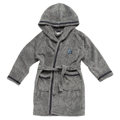 Boys Grey Marl Hooded Dressing Gown