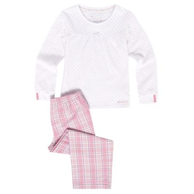 Girls Pink Check And Polka Dot Pyjamas