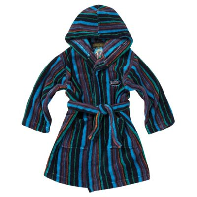 Boys Blue Stripe Fleece Dressing Gown