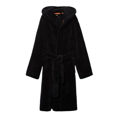 Boys Black Soft Hooded Dressing Gown