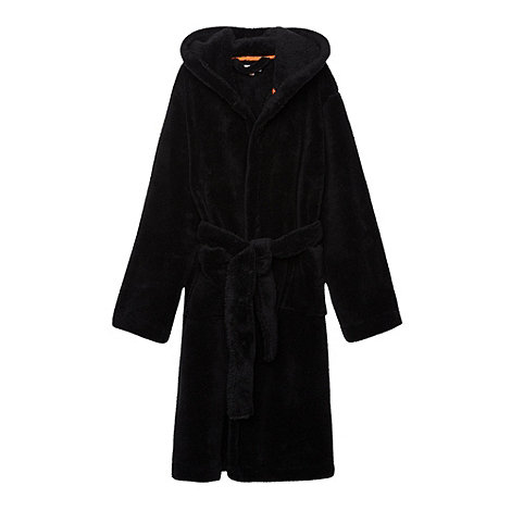 bluezoo - Boy+s black soft hooded dressing gown