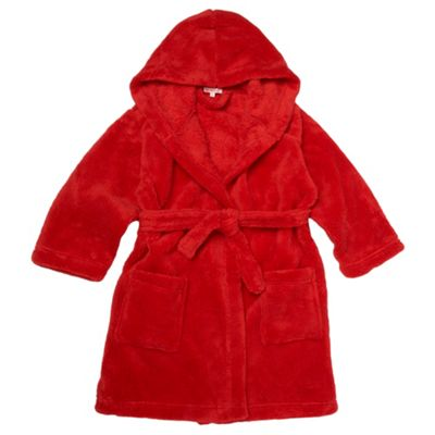 Boys Red Hooded Fleece Dressing Gown
