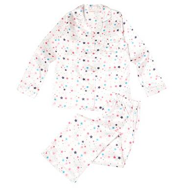 Girl's white star print satin pyjamas