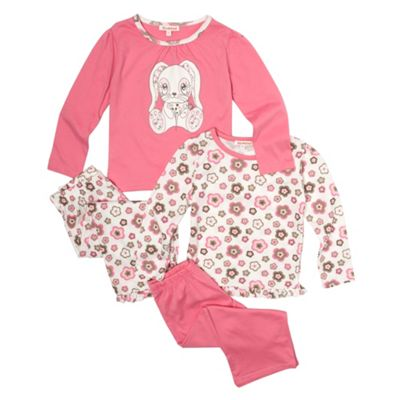 Girls Pack Of Two Pink Rabbit Print Pyjamas