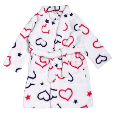 Girls Heart Fluffy Dressing Gown