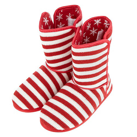 bluezoo - Girl+s red and white knitted Christmas slipper boots