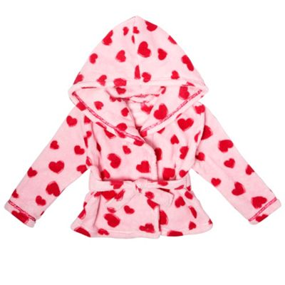 Girls Pink Heart Soft Fleece Short Dressing Gown