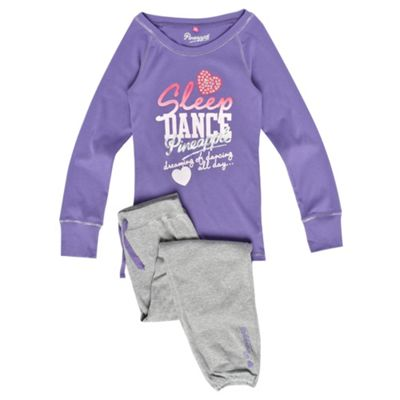 Girls Purple And Grey Dance Pyjamas