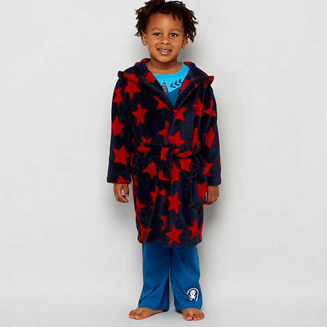 bluezoo - Boy+s navy star monster dressing gown